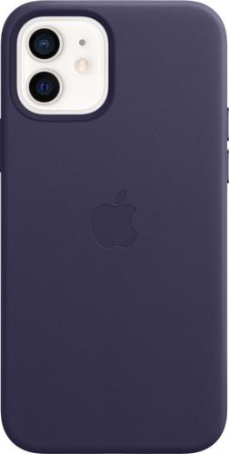 Apple iPhone 12 / 12 Pro Back Cover met MagSafe Leer Donkerviolet Main Image