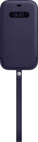 Apple iPhone 12 Pro Max Leren Sleeve with MagSafe Donkerviolet Main Image