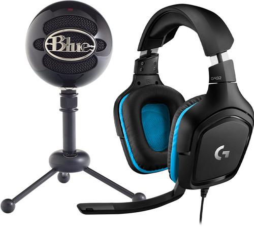 Blue Snowball Gloss Black + Logitech G432 7.1 Surround Sound Main Image