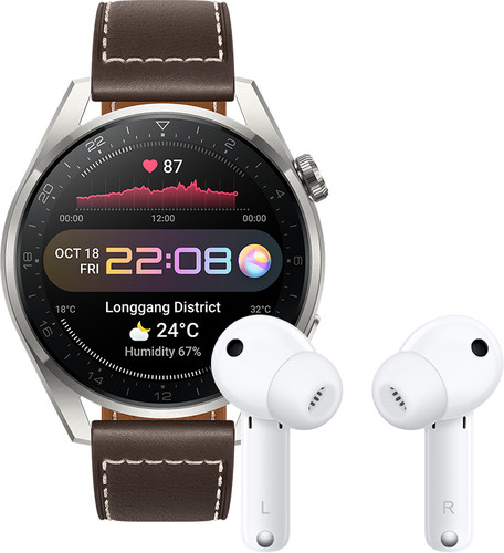 Huawei Watch 3 Pro Classic 4G Silver/Brown 49mm with Earbuds Main Image