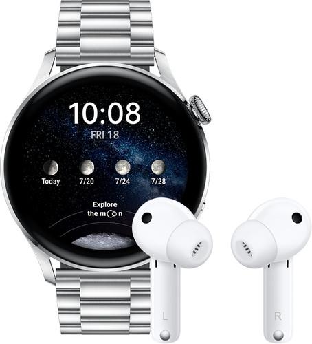 Huawei Watch 3 Elite 4G Zilver/Zilver 46mm met oordopjes Main Image