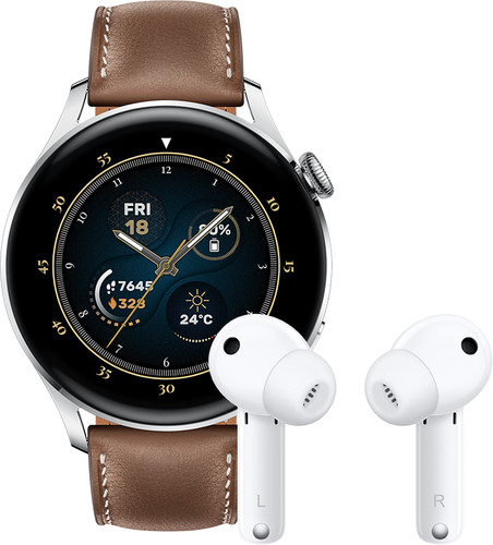 Huawei Watch 3 Classic 4G Silver/Brown 46mm with Earbuds Main Image
