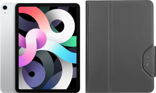 Apple iPad Air (2020) 10.9 inch 256 GB Wifi + 4G Zilver + Targus VersaVu Book Case Main Image