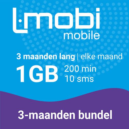 L-mobi simkaart met 3 maanden lang elke maand 1GB, 200 minuten & 10 smsjes Main Image