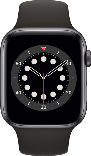 Apple Watch Series 6 44mm Space Gray Aluminium Zwarte Sportband Main Image
