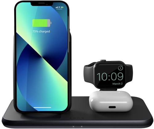 ZENS 3-in-1 Draadloze Oplader 10W met Standaard en Apple Watch Oplader Zwart Main Image