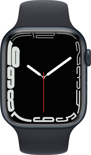 Apple Watch Series 7 45mm Nachtblauw Aluminium Zwarte Sportband Main Image