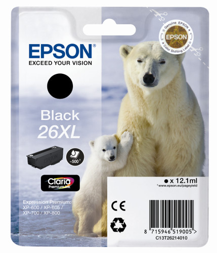 Epson 26 XL Cartridge Zwart (C13T26214010) Main Image