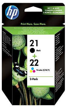 HP 21/22 Cartridge Zwart + Combo Pack 3-Kleuren (SD367AE) Main Image