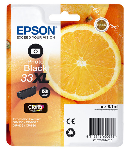 Epson 33 Cartridge Photoblack XL (C13T33314012) Main Image