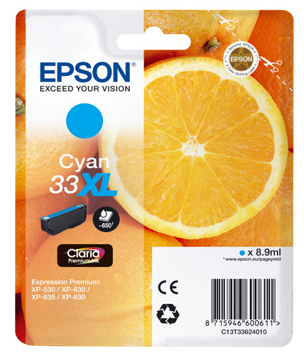 Epson 33 Cartridge Cyaan XL (C13T33624010) Main Image
