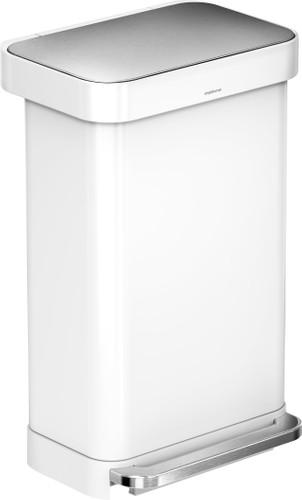 Simplehuman Rectangular Liner Pocket 45 Liter RVS/Wit Main Image
