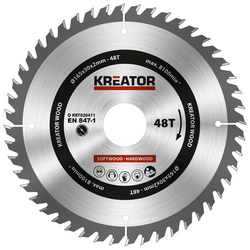 Kreator Saw Blade for Wood 165x30x2mm 48T Main Image