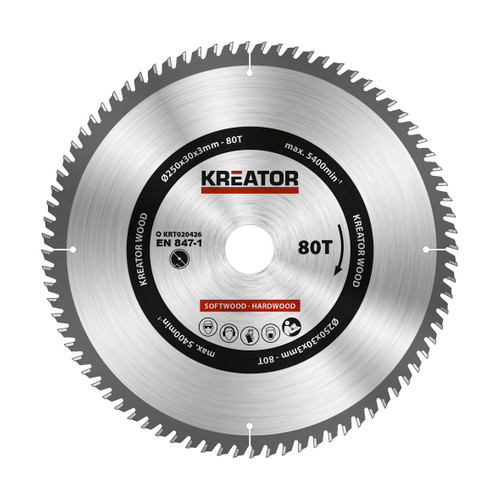 Kreator Saw Blade for Wood 250x30x3mm 80T Main Image