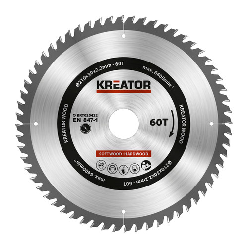 Kreator Saw Blade for Wood 210x30x2.2mm 60T Main Image