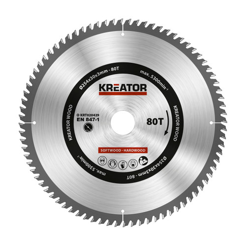 Kreator Saw Blade for Wood 254x30x3mm 80T Main Image