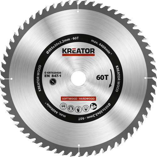 Kreator Saw Blade for Wood 305x30x3.2mm 60T Main Image