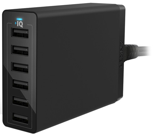 Anker PowerPort 6 Charger without Cable with 6 USB Ports 12W Black Main Image