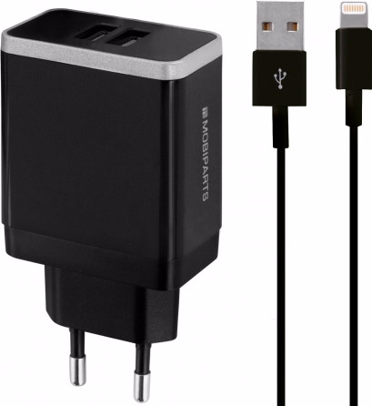Mobiparts Charger Adapter Dual USB 4.8A Lightning Black Main Image