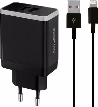 Mobiparts Thuislader Dual USB 2.4A Lightning Zwart Main Image