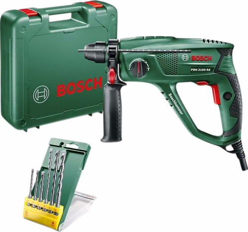 Bosch PBH 2100 RE Hammer drill + 6-piece SDS-Plus drill set Main Image