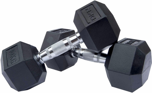 DKN Rubber Hex Dumbbell 2 x 10kg Main Image