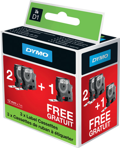 DYMO D1 2 + 1 bundle Black-White (12 mm x 7 m) (2 + 1 Free) Main Image