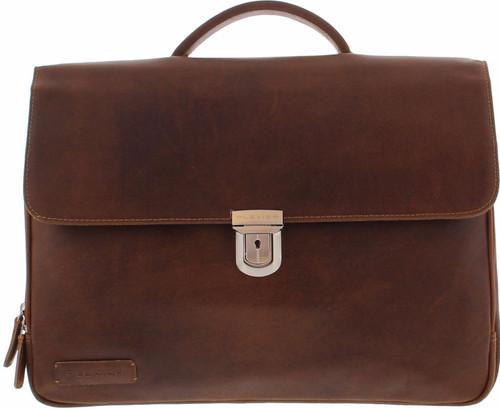 Plevier Vintage Leather 3-Compartment Briefcase 15.6-inch Dark brown Main Image