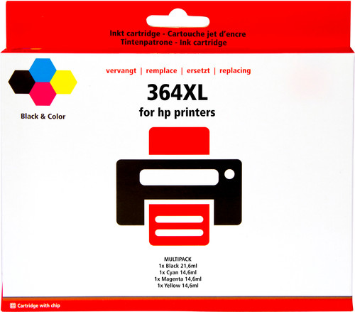 Pixeljet 364 Cartridge 4-Color XL for HP printers (J3M83AE) Main Image