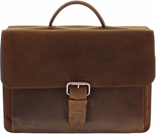 "Plover Vintage Cowhide Leather Briefcase 15.6 ""Brown Main Image"