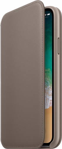 pretty nice 5e3a9 e36b5 Apple iPhone X Leather Folio Book Case Taupe