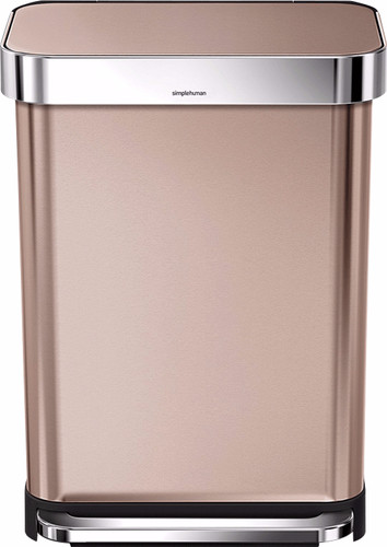 Simplehuman Rectangular Liner Pocket 55 Liters Stainless Steel Rose Gold Main Image