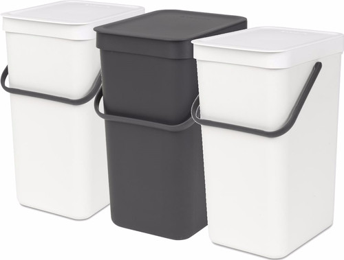 Brabantia Sort & Go 16 + 16 + 16 liters White/Gray/White Main Image