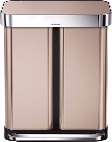 Simplehuman Rectangular Liner Pocket Organic Stainless Steel 24+34 Liter Main Image