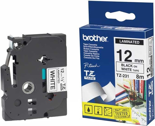 Brother TZ-231 Label Black on White (12mm x 8m) Main Image