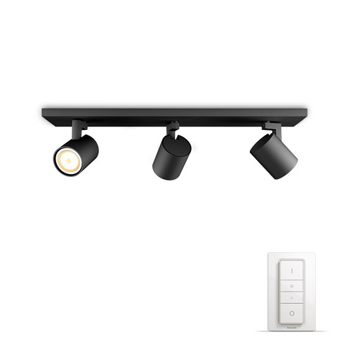 Philips Hue Runner Mounted Spot White Ambiance 3 Lights Black Bluetooth Main Image