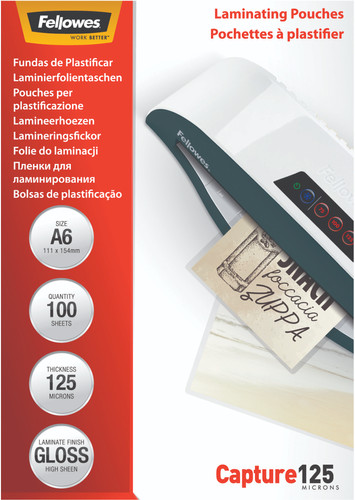 Fellowes Laminator covers Capture 125 mic A6 (100 Pieces) Main Image