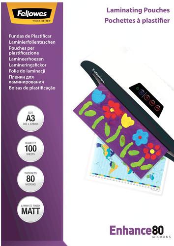 Fellowes Laminator covers Enhance Mat 80 mic A3 (100 Pieces) Main Image