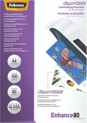 Fellowes Laminator covers SuperQuick 80 mic A4 (100 Pieces) Main Image