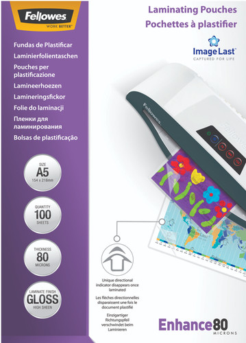 Fellowes Laminator covers ImageLast 80 mic A5 (100 Pieces) Main Image
