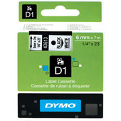 Dymo D1 Naamlabels Zwart-Wit (6 mm x 7 m)