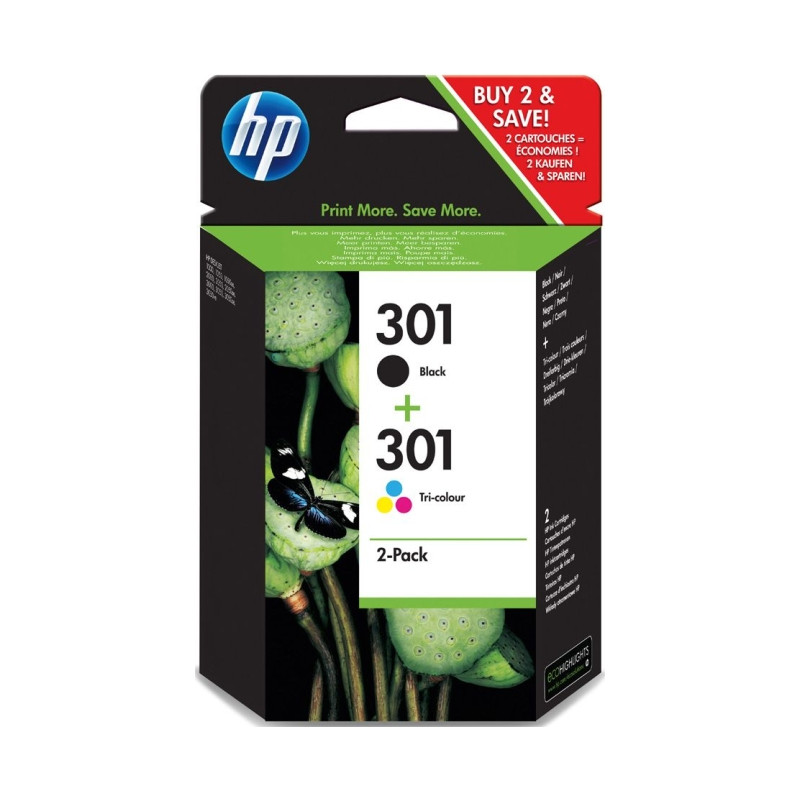 Hp 301 Ink Cartridge Combo-pack (j3m81ae)