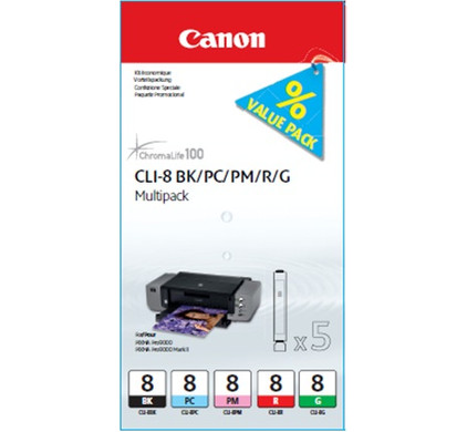 Canon CLI-8 Multi-Pack (BK/PC/PM/R/G) (0620B027)