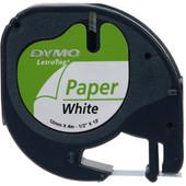 DYMO LetraTag Lettertape Papier Zwart op Wit (12mm x 4m)
