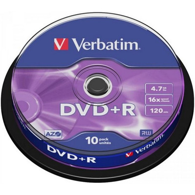 Image of 1x10 Verbatim DVD+R 4,7GB 16x Speed, Mat zilver Cakebox