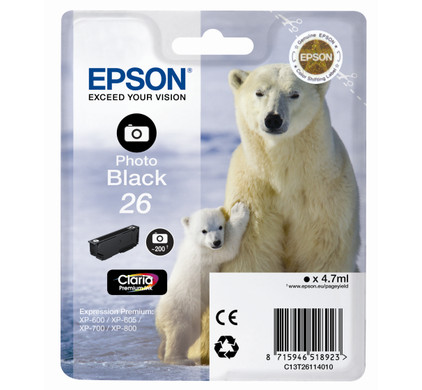 Epson 26 Cartridge Foto Zwart L (C13T26114010)