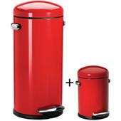Simplehuman Retro Set 30 Liter + 3 Liter Rood