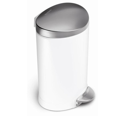 SimpleHuman pedaalemmer Semi Round Deluxe FFP 6 liter - wit