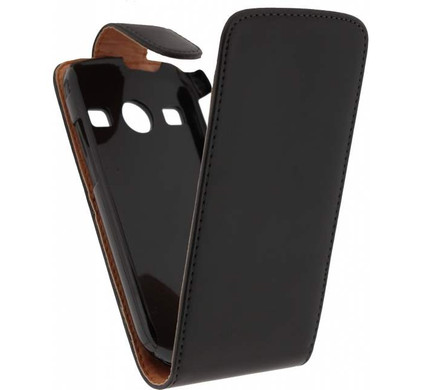 Xccess Leather Flip Case Samsung Galaxy Xcover 2 Zwart