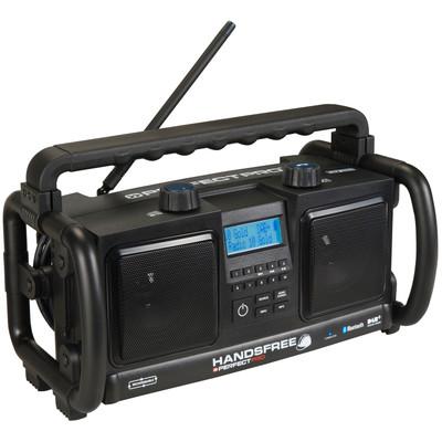 Image of DAB+ Bouwradio PerfectPro Handsfree bouwradio AUX, Bluetooth, DAB+, FM Accu laadfunctie, Handsfreefunctie, stofdicht, spatwaterbestendig, herlaadbaar Zwart